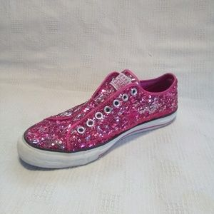 💕 EUC Converse Pink Sequin Slip on Sneakers